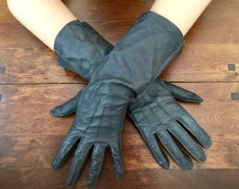 1950s Gloves Black Leather Ladies Accessories Made in England