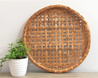 Vintage Woven Bamboo Decorative Tray Wall Hanging Rustic Casual Coastal Beach Decor