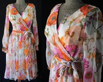 70s Jack Bryan Dress, Watercolor Floral, Chiffon Dress, Mad Men Party, Vintage Wedding