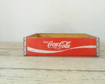 Vintage Coca Cola Beverage Wood Crate Coke Soda Pop Wood Box Crate 1985