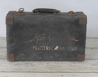 Vintage Black and Decker Tool Case Suitcase Leather or Vulcanized Fibre Wood Tool Box