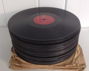 50 Vintage Vinyl 78 Records Retro Decorations Most are in unplayable condition