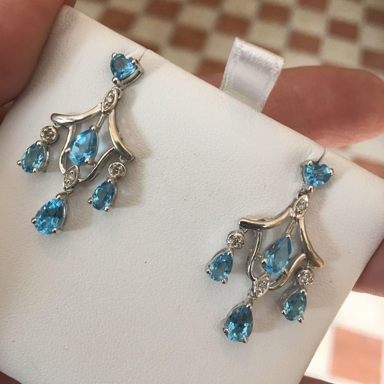 Lovely 14k white gold blue topaz diamond chandelier earrings mozeypictures Gallery