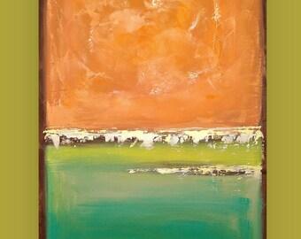 "Ora Birenbaum Original Art, Colorful, Acrylic, Abstract, Rainbow, Orange, Green, Painting on Canvas Titled: Glow 24x36x1.5"""