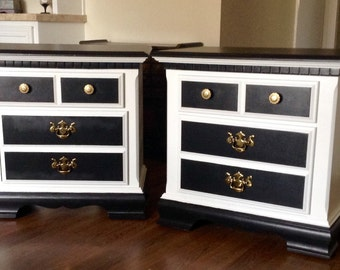 Pair of Classic  White & Black End Tables, Nightstands