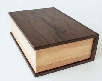 Wood Book, Secret Stash Box,  Cremation Urn - Made to order