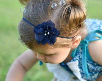 Newborn Baby Petite Headband. Photo Prop. Navy Blue with Rhinestones & Pearls Preemie  Wedding