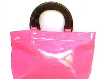 NEIMAN MARCUS Bright Pink Vinyl Tote Style Handbag