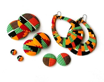 Button Fab - Traditional Green African Kente Print Fabric Buttons, Studs and Oversized Wrapped Hoops