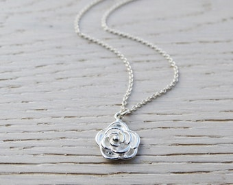 Silver Rose Necklace - Sterling Silver