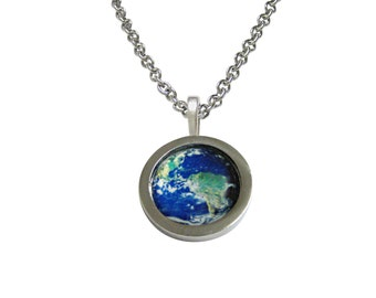 Bordered Planet Earth Pendant Necklace