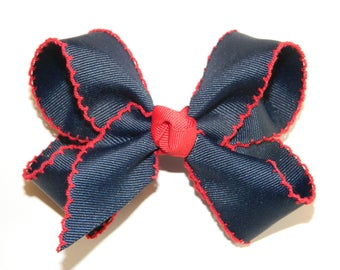 Navy & Red Large Moonstitch Hair Bow - School Uniform Hair Bow, Moonstitch Hair Bow, Navy Hair Bow, Moonstitch Ribbon