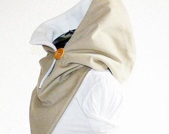 Hooded shawl - fine cord beige-cream