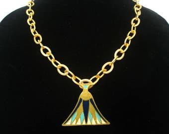 "MMA Enameled Egyptian Revival Lotus Design Pendant Necklace.  Vintage 1976 Signed.  23.5"" L x 7/16"" W."