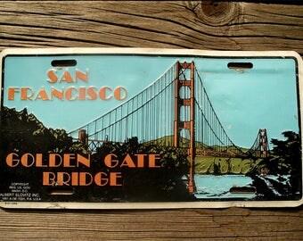 Vintage San Francisco Vanity Plate - Decorative Aluminum California Car License Albert Elovitz  - 1991 Golden Gate Bridge Auto Collectible