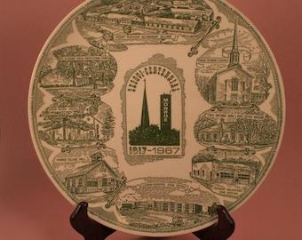 Vintage Commemorative Plate, Village of Monroe Ohio Sesquicentennial Anniversary, 1967