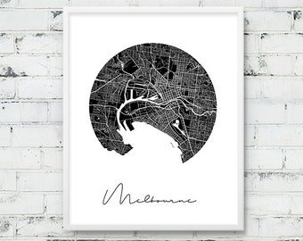 Melbourne Urban Map Print. Melbourne City Street Map Poster. Black & White Melbourne Australia Map Print. Circle Art Decor. Printable Art