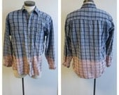 Upcycled Clothing, Dip Dyed Light Blue and Grey Flannel Shirt, Bleach Dyed, Reclaimed Button-up Shirt, Mens Large #055