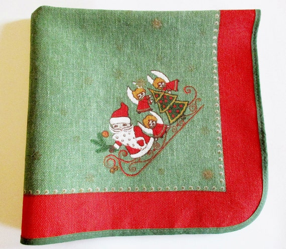 Cute German Vintage Christmas Printed Tablecloth Jute Material with Santa Sledge Angels and Trees