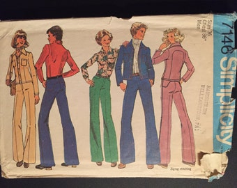 Simpicity Sewing Pattern 7146 70s Men's Unlined Jacket and Pants Size 36