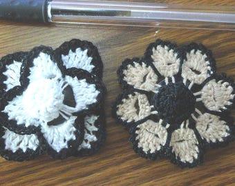 Button flowers #bf010 lot of 2 crochet appliques bouquet decoration adornment embellishment motifs wedding birthday