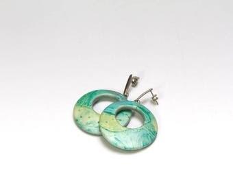 modern green hoop earrings, hypoallergenic hoops, dangle post earrings, pastel spring jewelry, polymer clay jewelry, teenager earrings