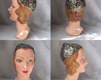 1920s sequin flapper hat skull cap