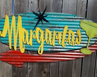 Margaritas Mid-Century Retro Painted Flat Metal/Vintage Corrugated Barn Tin/ Bar/ Pool/ Cantina/ Sign