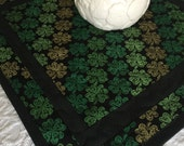 St. Patrick's Day Table Topper Quilt, Green, Black, Clovers, Handmade