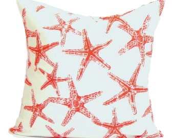 BEACH DECOR, Nautical Pillow Cover, Decorative Pillow, Throw Pillow, Starfish Pillows, Accent Pillow, Pillow Cover, All Sizes, Euro, Cushion