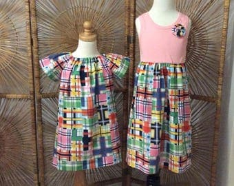 SISTER SET in MADRAS... girls tankstyle dress with coordinating flutter sleeve dress- mix and match- sizes 6mo-12