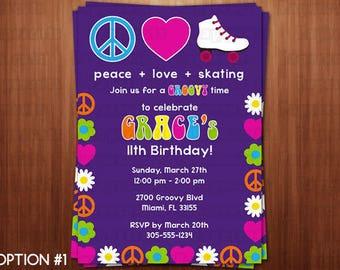 Printable DIY Groovy Skate Theme Personalized Happy Birthday Party Invitation Digital File
