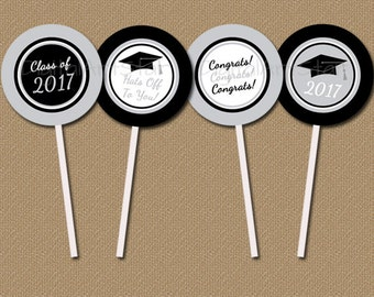 Graduation Cupcake Toppers - Printable Graduation Party Decorations Silver & Black - Class of 2017 Graduation Printable Grad Party Ideas G2