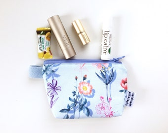 Fresh Flowers Divided Mini Flat Bottom Pouch / Coin Purse (handmade philosophy's pattern)