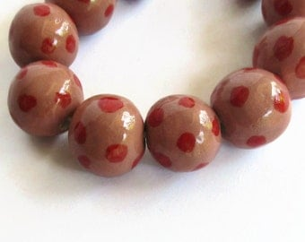 Ceramic beads, Clay Beads, African Beads,  ceramic beads, pink, red dots, beads for a summer necklace, summer jewelry, polka dot beads