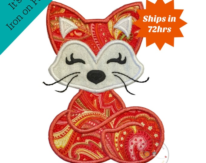 Woodland coral fox iron on applique-Full size woodland animal no sew machine embroidery patch-DIY boutique fashions- ready to ship