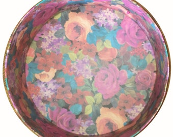 Amazing 1970s Cardboard Hatbox Printed with Flowers