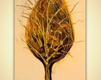 """Canvas Print 40""""x30"""" Stretched Ready-to-Hang  & Embellished  - Golden Tree - Art by Osnat"""