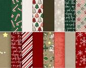 Twelve Merry Days:  Digital Scrapbook Papers