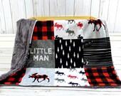 Moose Baby Blanket - Buffalo Plaid Blanket Faux Quilt - Little Man Blanket - Lumberjack - Buffalo Check Baby Blanket - Moose Buffalo Plaid