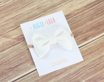 White Bow, White Sailor Bow, Girls Hair Bows, Sailor Bow, Chunky Bow, Mini Bow, Newborn Bows, Headbands, Newborn Headband, Toddler Headband