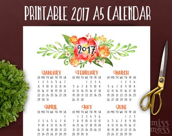 2017 Calendar Planner Printable || A5 Floral Botanical Yearly Insert ||  to do list month calendar filofax calendar insert || year planner