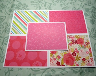 Colorful Handmade Note Cards Thank You Cards Set of 5 with Envelopes