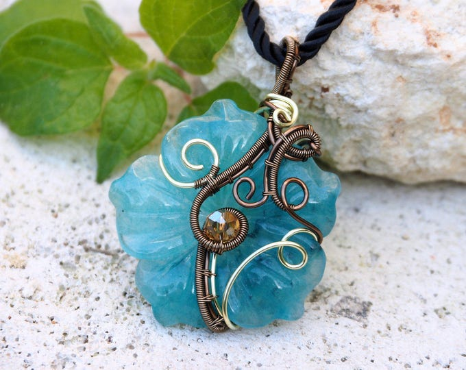 Gemstone flower necklace Blue Amazonite wire wrapped pendant Natural stone Gift for her/girlfriend Fairy Nature jewelry Something blue