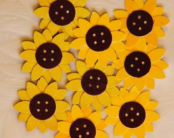 9 Paper Flowers, Yellow Paper Flowers, Button Flowers, Yellow and Brown Flowers, Brown Button Flowers, Paper Button Centers, Acid Free