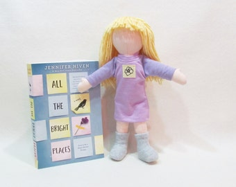 Little Violet doll from All the Bright Places by Jennifer Niven, Eco-friendly hemp doll, unique cloth doll
