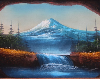 Black Velvet Painting in Carved Wood Frame Scenic Mountain Waterfall  Landscape Forest Lake