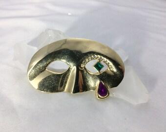 Vintage Mardi Gras Brooch Gold Mardi Gras Pin Mardi Gras Mask Brooch Vintage Jewelry Antique Jewelry Vintage Brooch Antique Pin Gemstone Pin