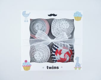 Twin Boy Baby Gift 12 piece set  - Twins Gift - Boy twins gift - 6 month - mustache