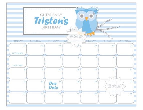 baby shower calendar blue grey baby boy shower prediction calendar